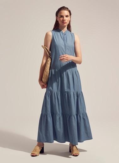 Monamoda Açık Yıkama Fırfırlı Denim Elbise Mavi